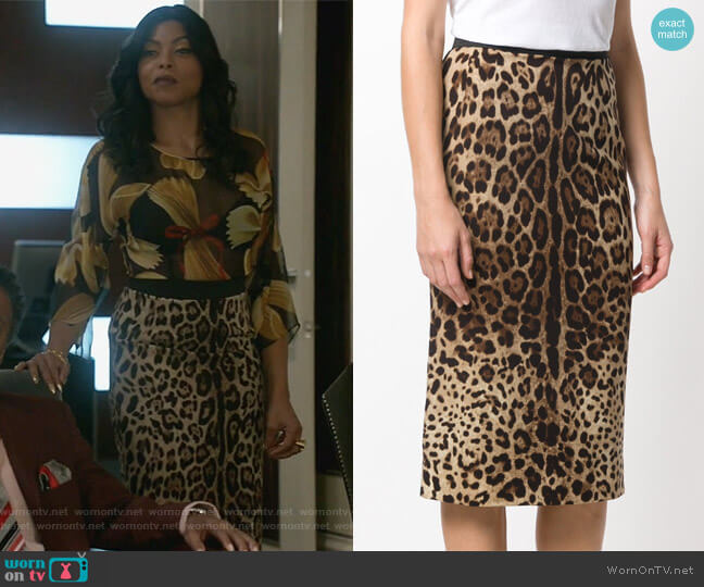 Leopard Print Pencil Skirt by Dolce & Gabbana worn by Taraji P. Henson on Empire