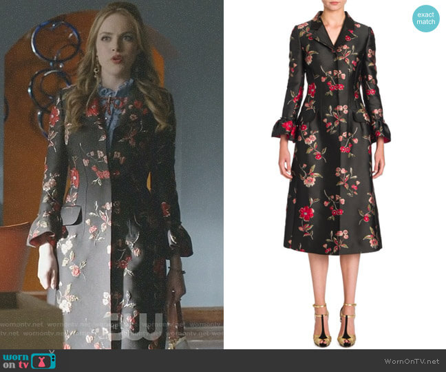 Floral Jacquard Coat by Dolce & Gabbana worn by Fallon Carrington (Elizabeth Gillies) on Dynasty