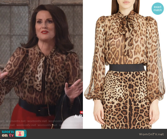 Leopard Print Silk Tie Neck Blouse by Dolce & Gabbana worn by Megan Mullally on Will & Grace