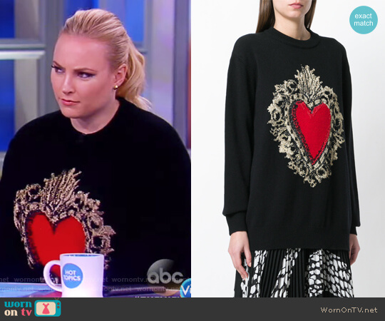 Heart Puff Sleeve Sweater by Dolce & Gabbana worn by Meghan McCain  on The View