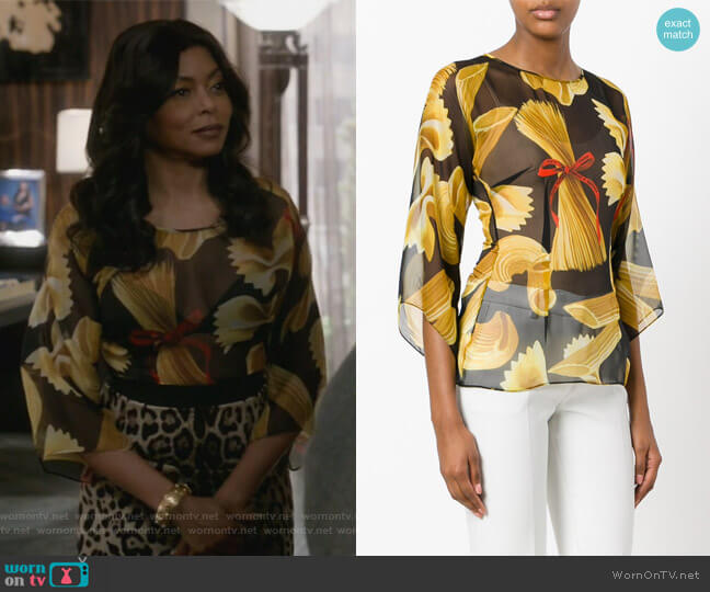 Pasta Print Blouse by Dolce & Gabbana worn by Taraji P. Henson on Empire