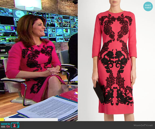Floral Applique Wool Crepe Dress by Dolce & Gabbana worn by Norah O'Donnell on CBS This Morning
