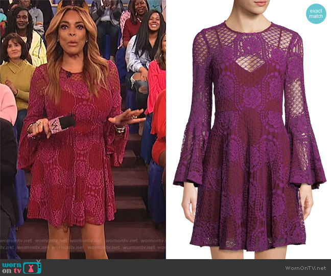Lace Bell-Sleeve Mini Dress by Donna Morgan worn by Wendy Williams  on The Wendy Williams Show