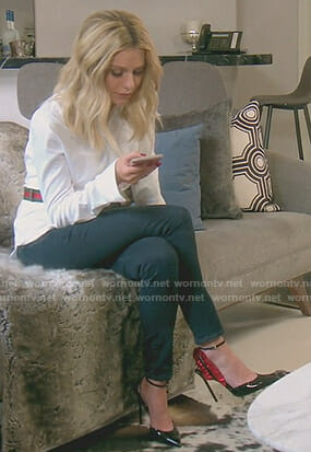 Dorit's gucci waist bag and black pumps on The Real Housewives of Beverly Hills