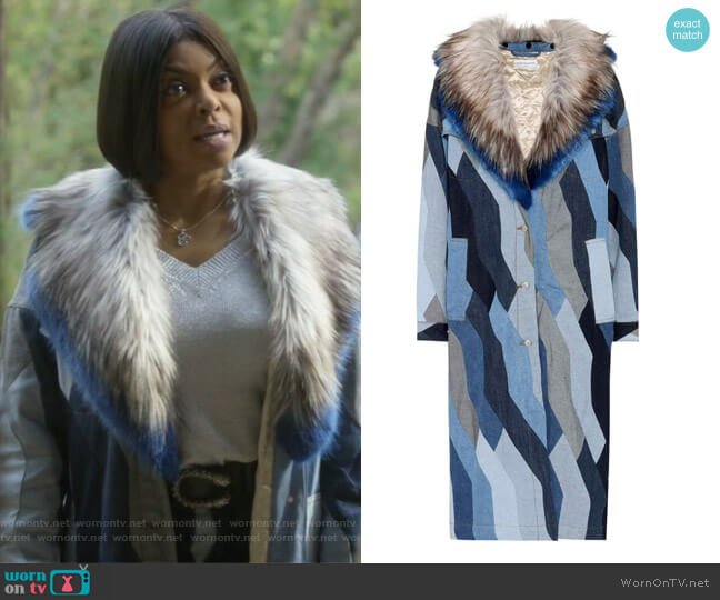 Faux fur-trimmed denim coat by Dries Van Noten worn by Taraji P. Henson on Empire