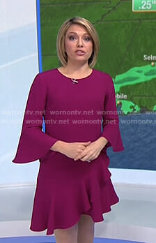 Dylan's purple bell sleeve dress with frilled asymmetric hem on Today