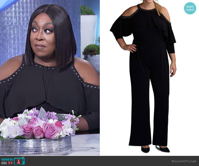 Cold Shoulder Ruffle Stud Jumpsuit by ECI worn by Loni Love  on The Real