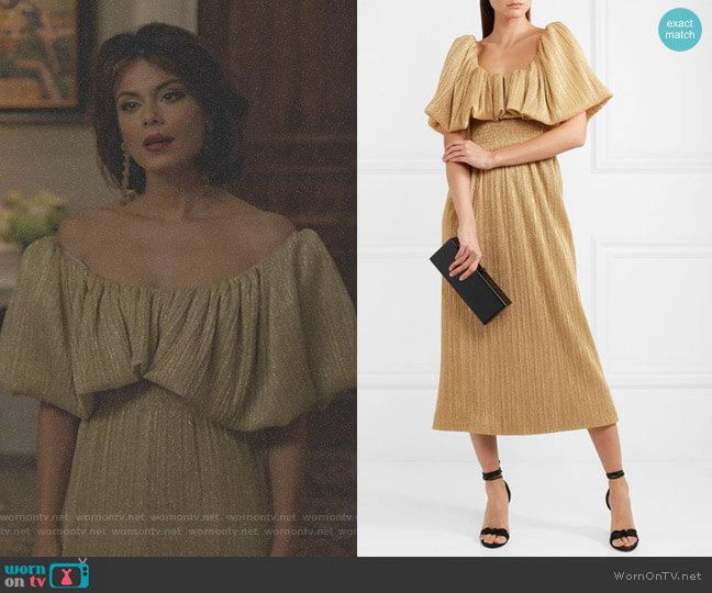 Metallic Plissé-Jersey Midi Dress by Emilia Wickstead worn by Nathalie Kelley on Dynasty