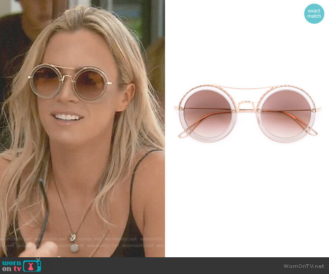 Round Sunglasses by Elie Saab worn by Teddi Mellencamp Arroyave on The Real Housewives of Beverly Hills