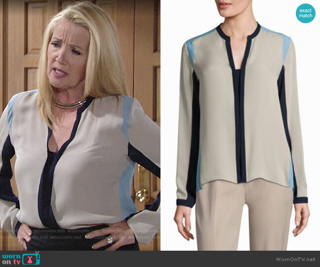 Elie Tahari Layne Colorblock Blouse worn by Nikki Reed Newman (Melody Thomas-Scott) on The Young & the Restless