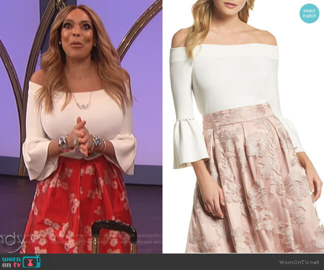 2008af1554b1e Off the Shoulder Bell Sleeve Top by Eliza J worn by Wendy Williams (Wendy  Williams
