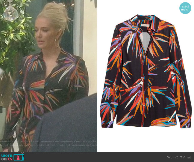 Printed Stretch-Jersey Shirt by Emilio Pucci worn by Erika Girardi  on The Real Housewives of Beverly Hills