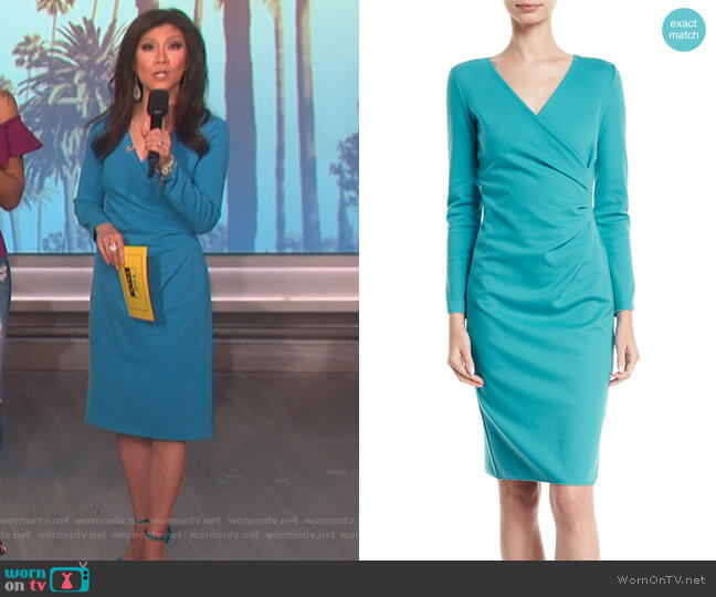 Long-Sleeve Deep-V Ruched Sheath Dress by Emporio Armani worn by Julie Chen  on The Talk