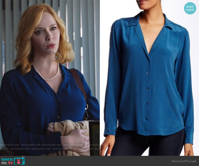 Adalyn washed-silk shirt by Equipment worn by Christina Hendricks on Good Girls