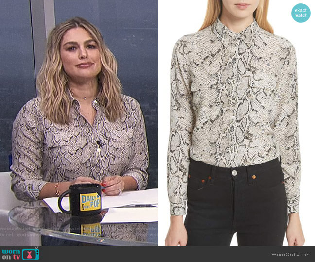 Slim Signature Python Print Silk Shirt by Equipment worn by Carissa Loethen Culiner on E! News