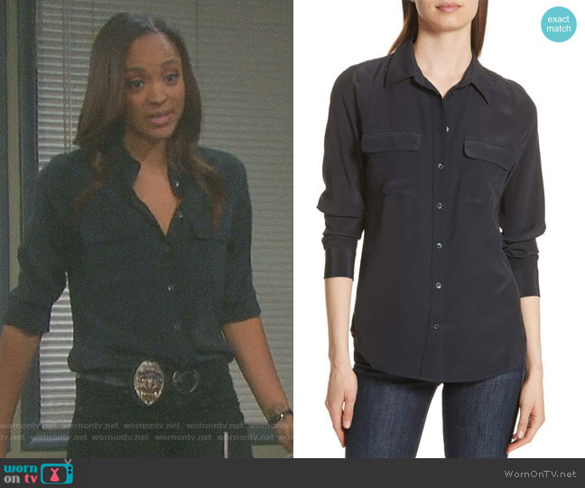 Slim Signature Silk Shirt by Equipment worn by Lani Price (Sal Stowers) on Days of our Lives