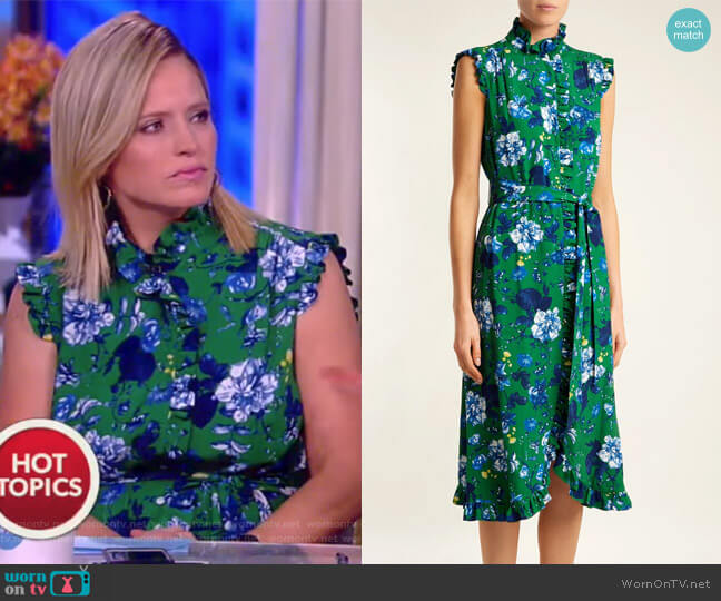 Sebla floral-print crepe dress by Erdem worn by Sara Haines on The View