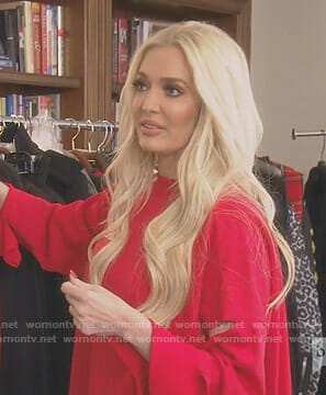 Erika's red cutout sweatshirt on The Real Housewives of Beverly Hills