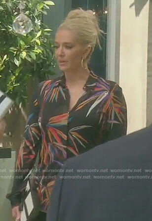 Erika's black bamboo print shirt on The Real Housewives of Beverly Hills