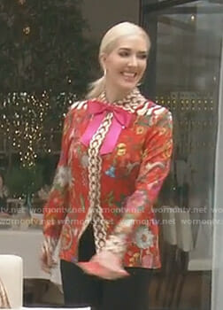 Erika's red mixed floral print shirt on The Real Housewives of Beverly Hills