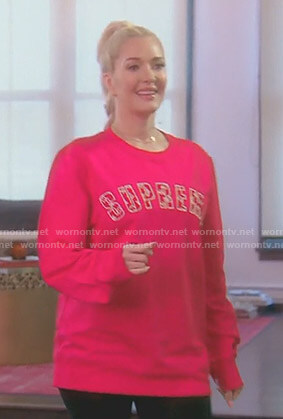 Erika's red supreme sweatshirt on The Real Housewives of Beverly Hills