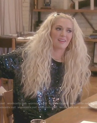 Erika's sequin sweatshirt on The Real Housewives of Beverly Hills