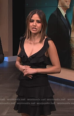 Erin's black ruffled tiered dress on E! News