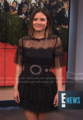 Erin's black tiered mini dress on E! News