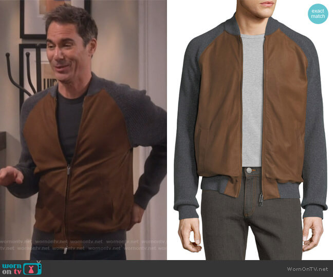 Cashmere & Lambskin Leather Zip-Front Cardigan by Ermenegildo Zegna worn by Will Truman (Eric McCormack) on Will & Grace