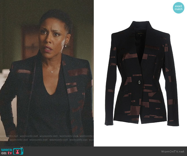 Weave Blazer by Escada worn by Lynn Stewart (Christine Adams) on Black Lightning