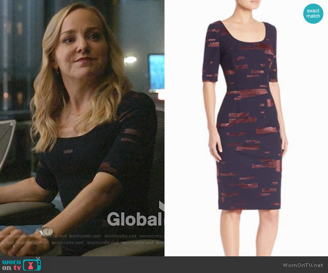 Escada Printed Fil Copupe Sheath Dress worn by Marissa Morgan (Geneva Carr) on Bull