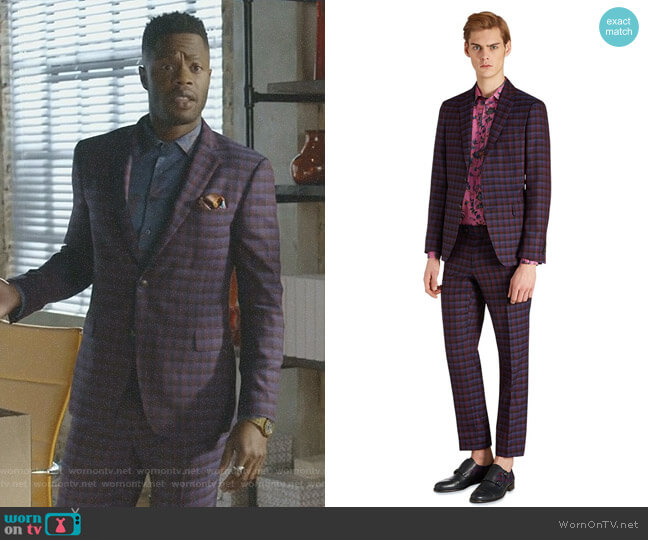 Check Suit by Etro worn by Jeff Colby (Sam Adegoke) on Dynasty