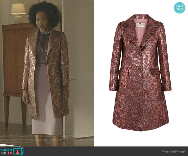 Metallic Wool-Blend Jacquard Coat by Etro worn by Wakeema Hollis on Dynasty