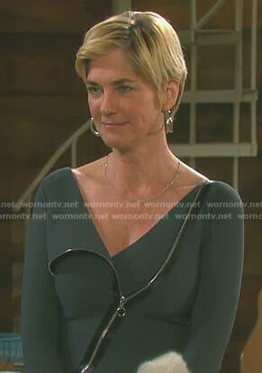Eve's grey zip-front dress on Days of our Lives