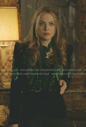 Fallon's black and green beaded velvet jacket on Dynasty
