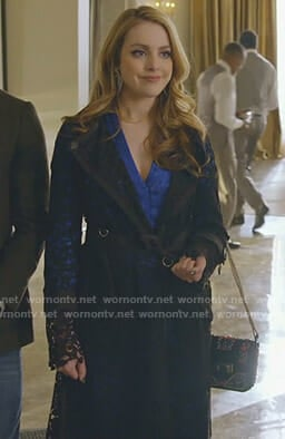 Fallon's black lace trench coat on Dynasty