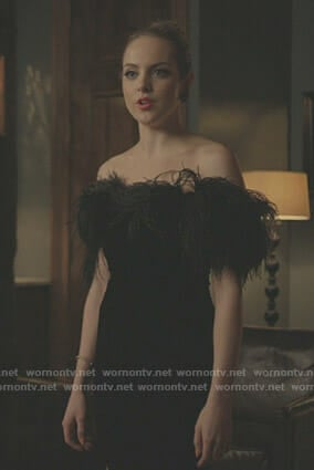 Fallon's black velvet dress with feather on Dynasty