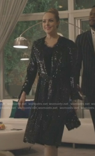 Fallon's black sequin coat on Dynasty