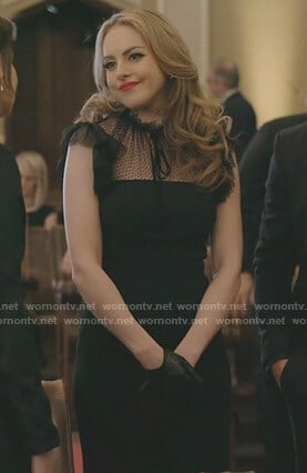 Fallon's black tulle ruffle sleeve dress on Dynasty