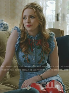 Fallon's blue lace dress and red over the knee boots on Dynasty