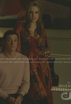 Fallon's red floral robe on Dynasty