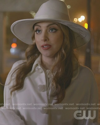 Fallon's white cape and wool hat on Dynasty