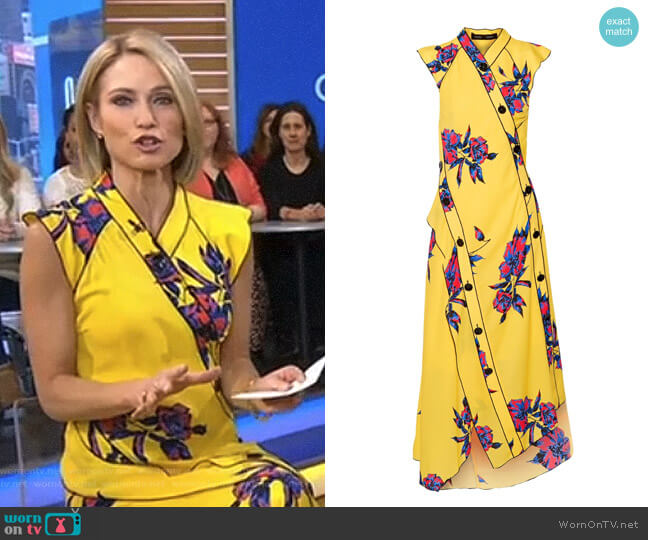 Floral Print Silk Georgette Dress by Proenza Schouler worn by Amy Robach on Good Morning America