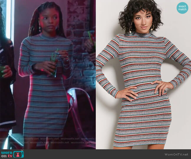 Marled Ribbed Knit Striped Dress by Forever 21 worn by Skylar Forster (Halle Bailey) on Grown-ish