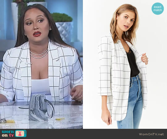 Open-Front Grid Blazer by Forever 21 worn by Adrienne Houghton  on The Real