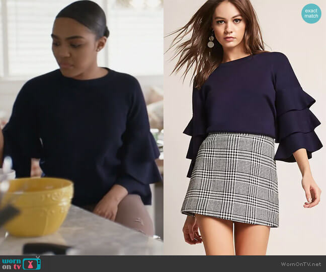 Tiered Bell Sleeve Top by Forever 21 worn by China Anne McClain on Black Lightning