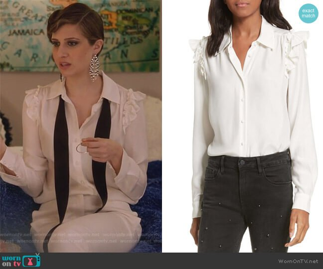 Silk Ruffle Sleeve Blouse by Frame worn by Nomi Segal (Emily Arlook) on Grown-ish