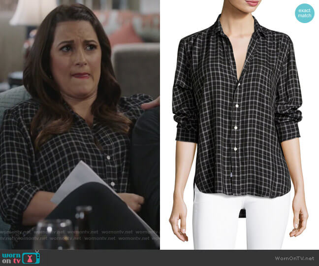 Eileen Button-Front Check Shirt by Frank & Eileen worn by Colleen Brandon-Ortega (Angelique Cabral) on Life in Pieces