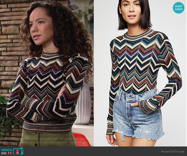 Free People Talk About It Sweater worn by Mattie Ashby (Lexie Stevenson) on The Young & the Restless