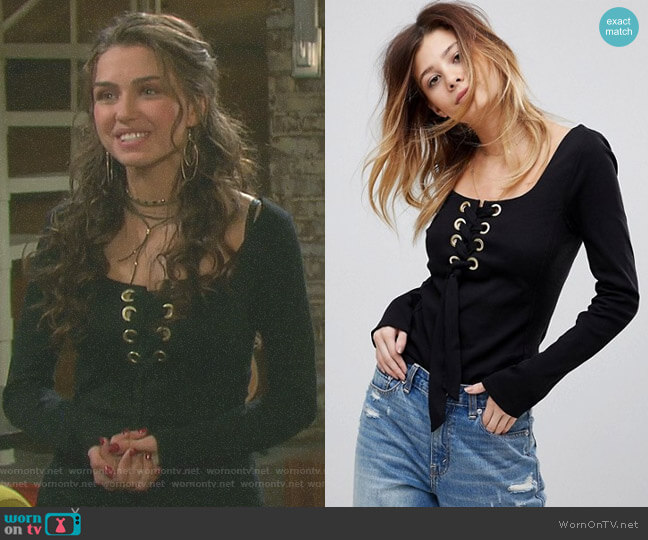 Looking Back Top by Free People worn by Ciara Brady (Victoria Konefal) on Days of our Lives